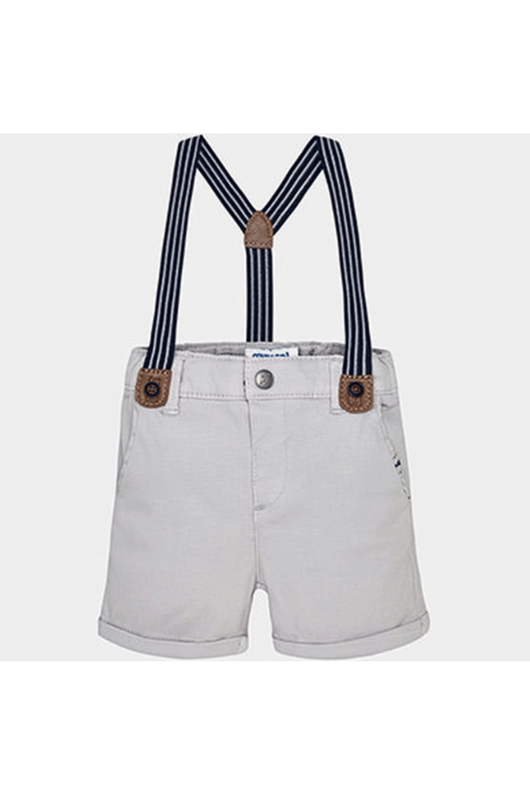 Mayoral Grey Suspender Shorts - Front Cropped Image