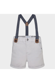 Mayoral Grey Suspender Shorts - Front cropped