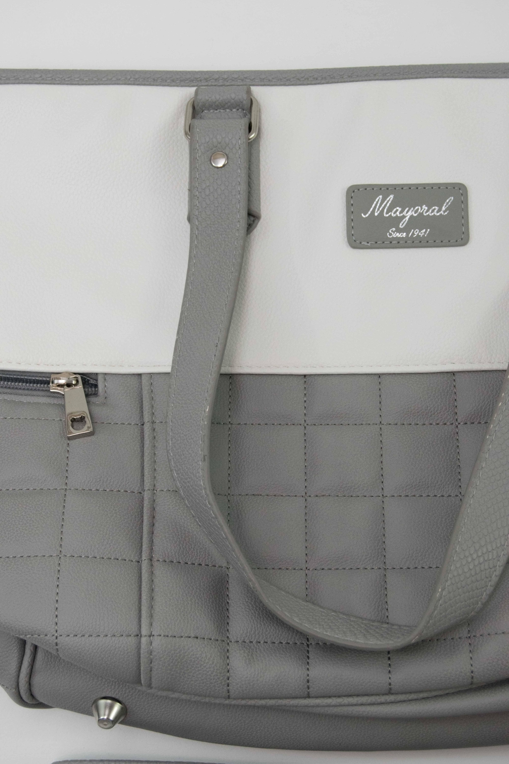 Mayoral Grey & White Diaper Bag - Side Cropped Image