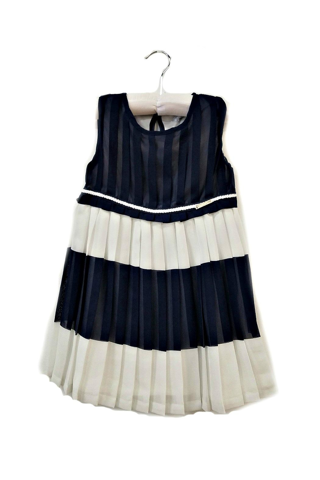 Mayoral Navy-And-White Pleated-Chiffon Dress - Main Image
