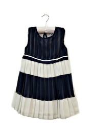 Mayoral Navy-And-White Pleated-Chiffon Dress - Front cropped