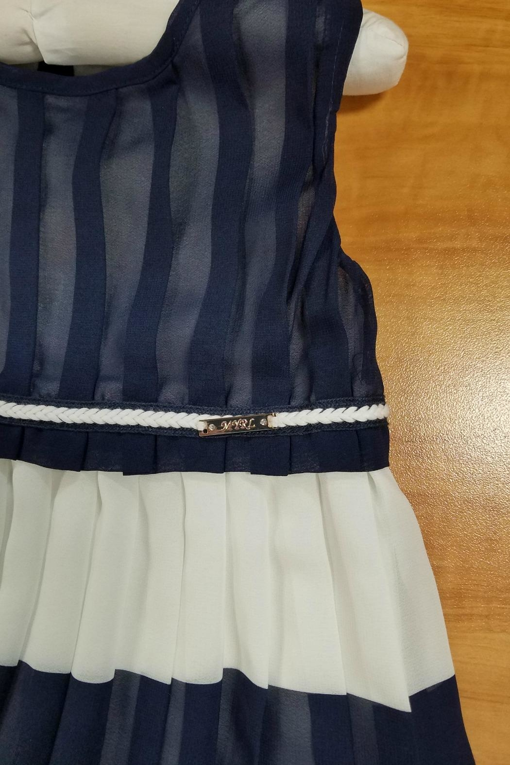Mayoral Navy-And-White Pleated-Chiffon Dress - Front Full Image