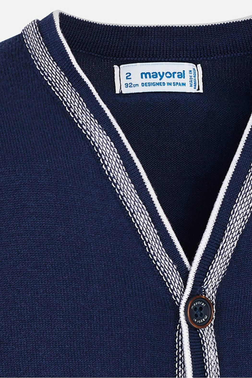 Mayoral Navy-Blue Classic Cardigan - Side Cropped Image