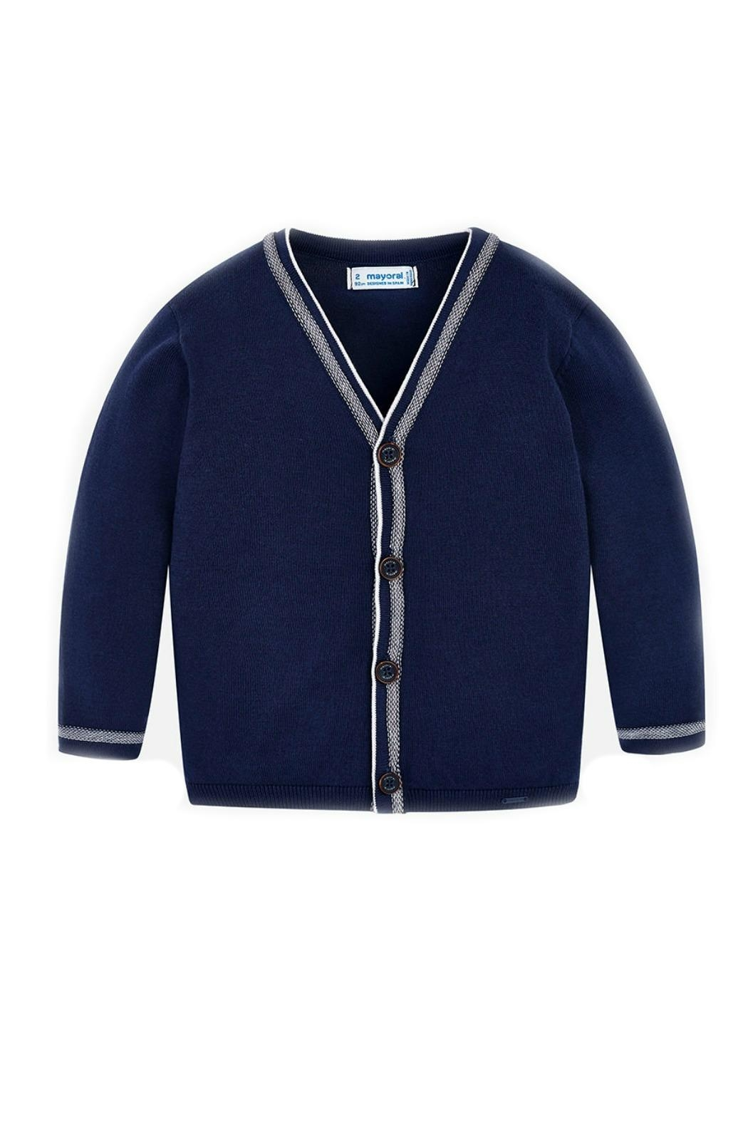 Mayoral Navy-Blue Classic Cardigan - Front Cropped Image