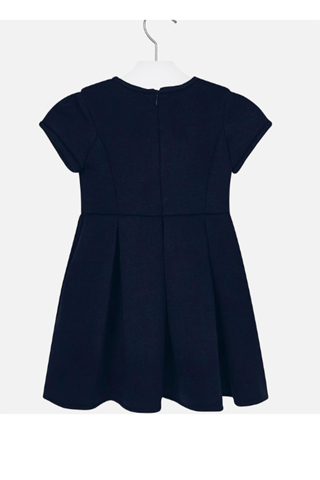 Mayoral Navy Pleated Dress - Front Full Image