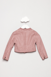Mayoral Pink Leather Jacket - Back cropped