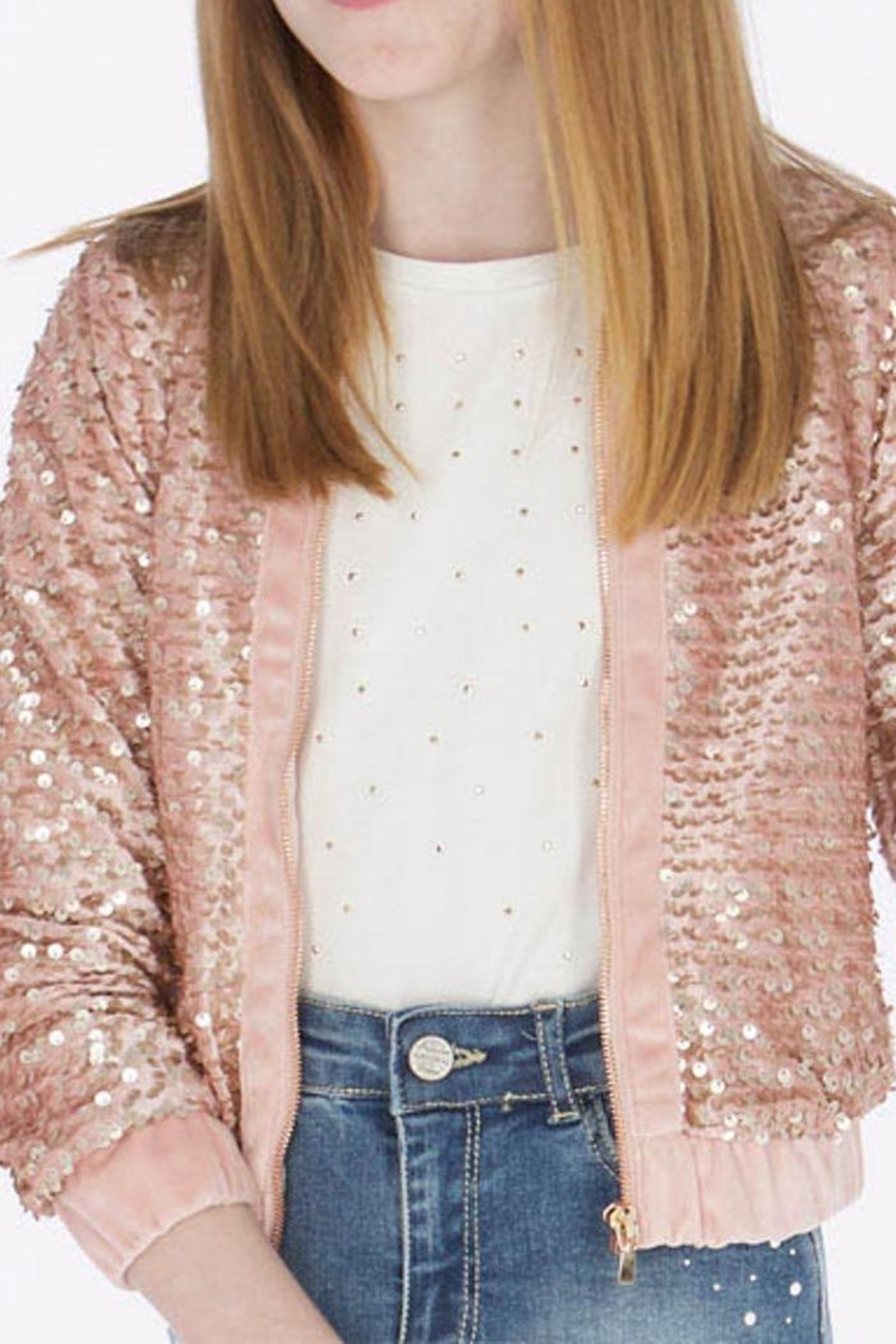 Mayoral Pink Sequin Jacket - Main Image