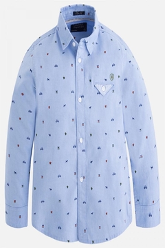 Shoptiques Product: Printed Long-Sleeve Button-Down