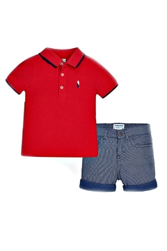 Shoptiques Product: Red-Polo-Striped-Navy-Short-Set