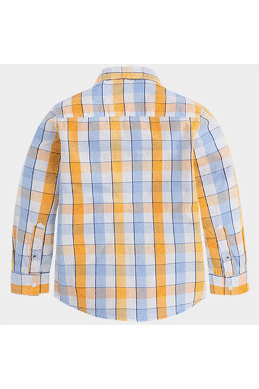Mayoral Sky Blue Plaid Button-Up - Back Cropped Image