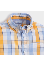 Mayoral Sky Blue Plaid Button-Up - Front full body