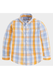 Mayoral Sky Blue Plaid Button-Up - Front cropped