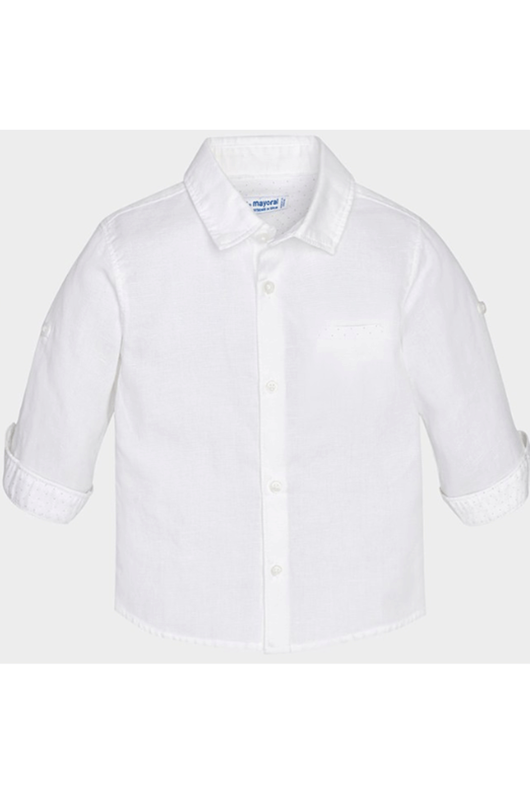 Mayoral White Linen Button Up - Front Cropped Image