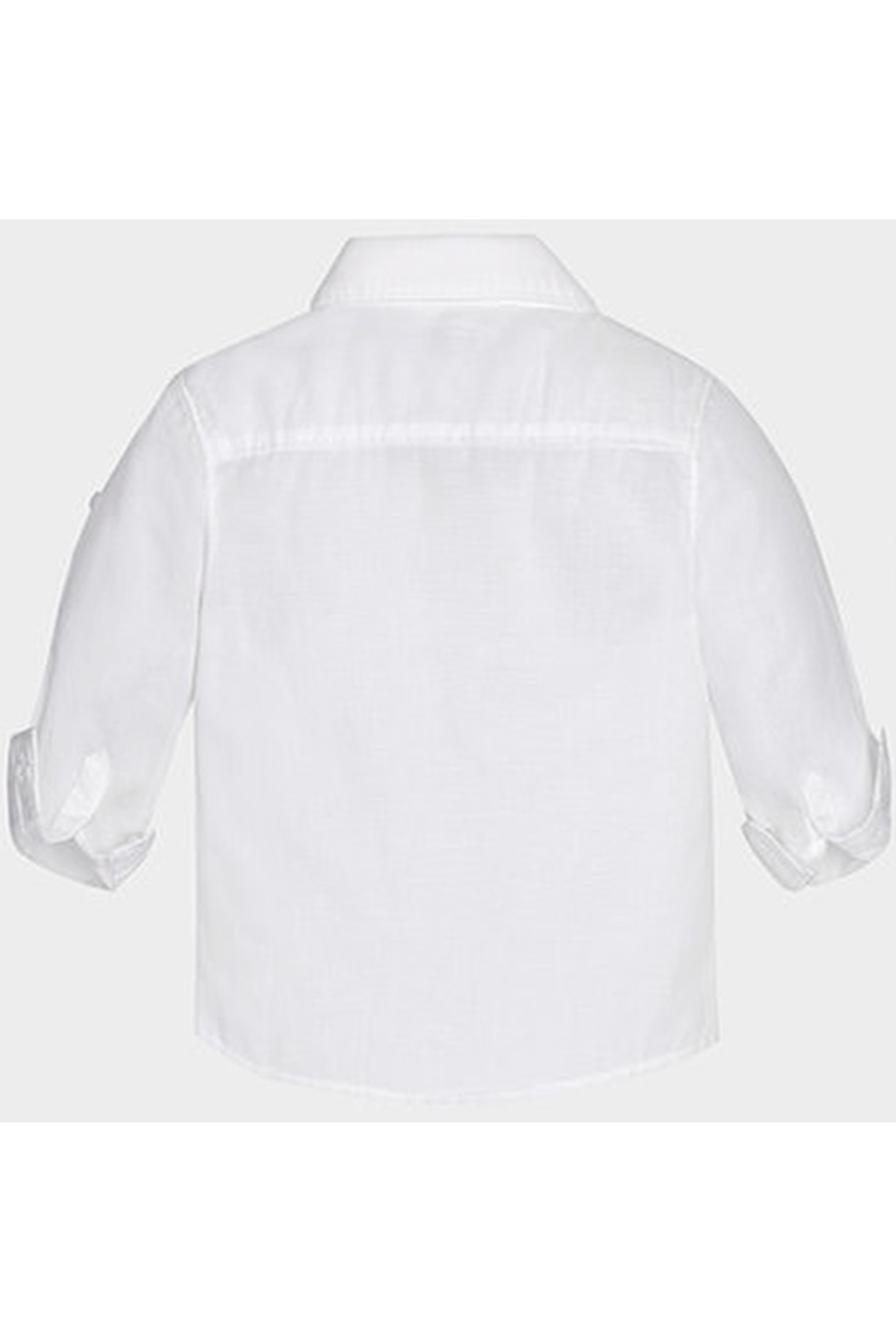 Mayoral White Linen Button Up - Back Cropped Image