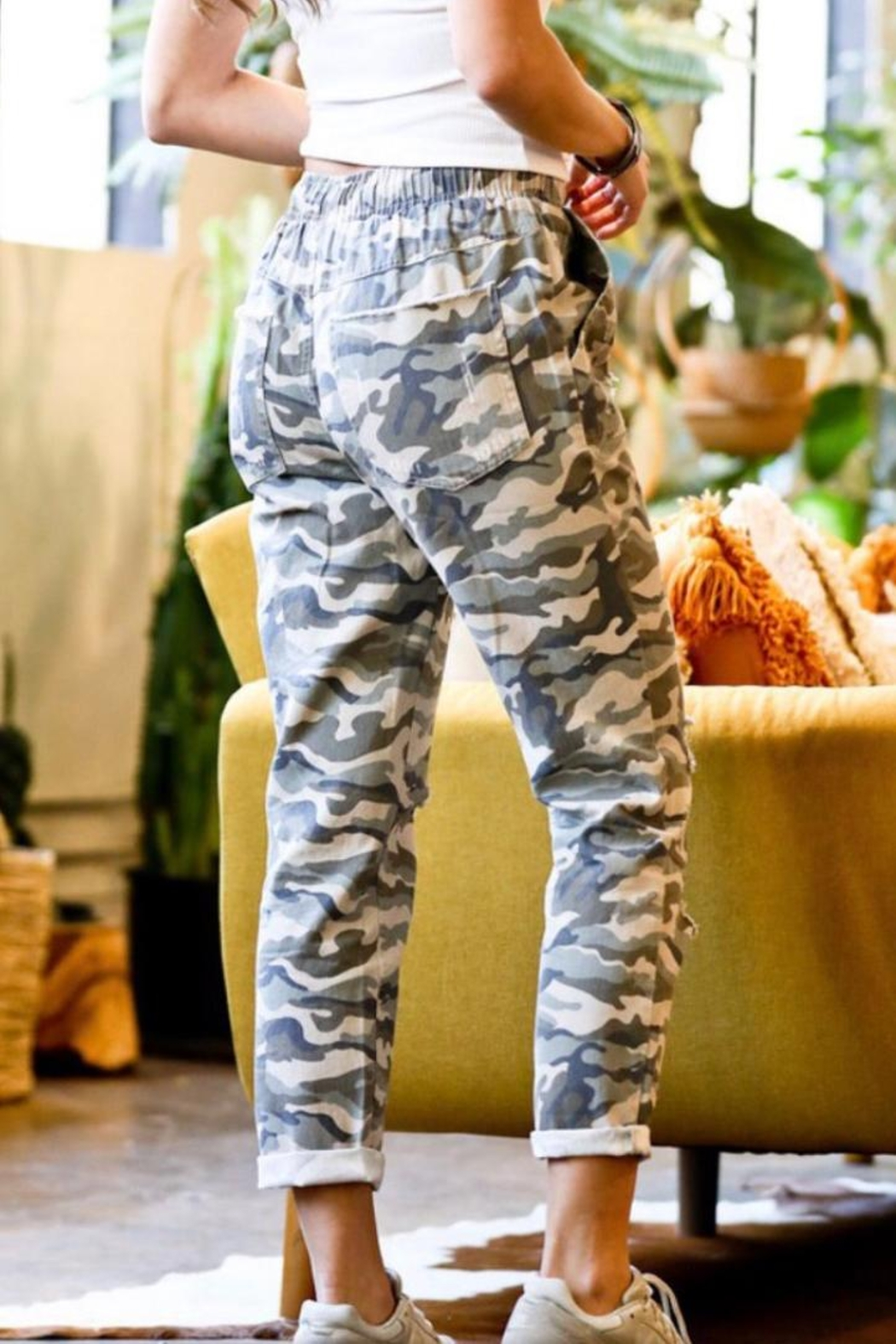 Mazik Camo Distressed Pants - Front Full Image