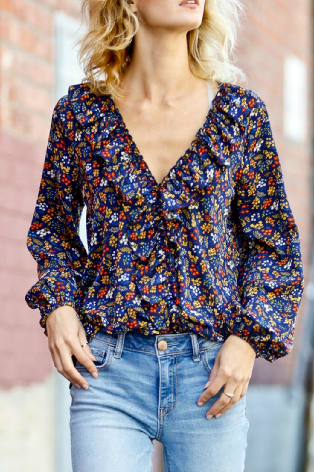 Mazik Flounce Floral Blouse - Front Cropped Image