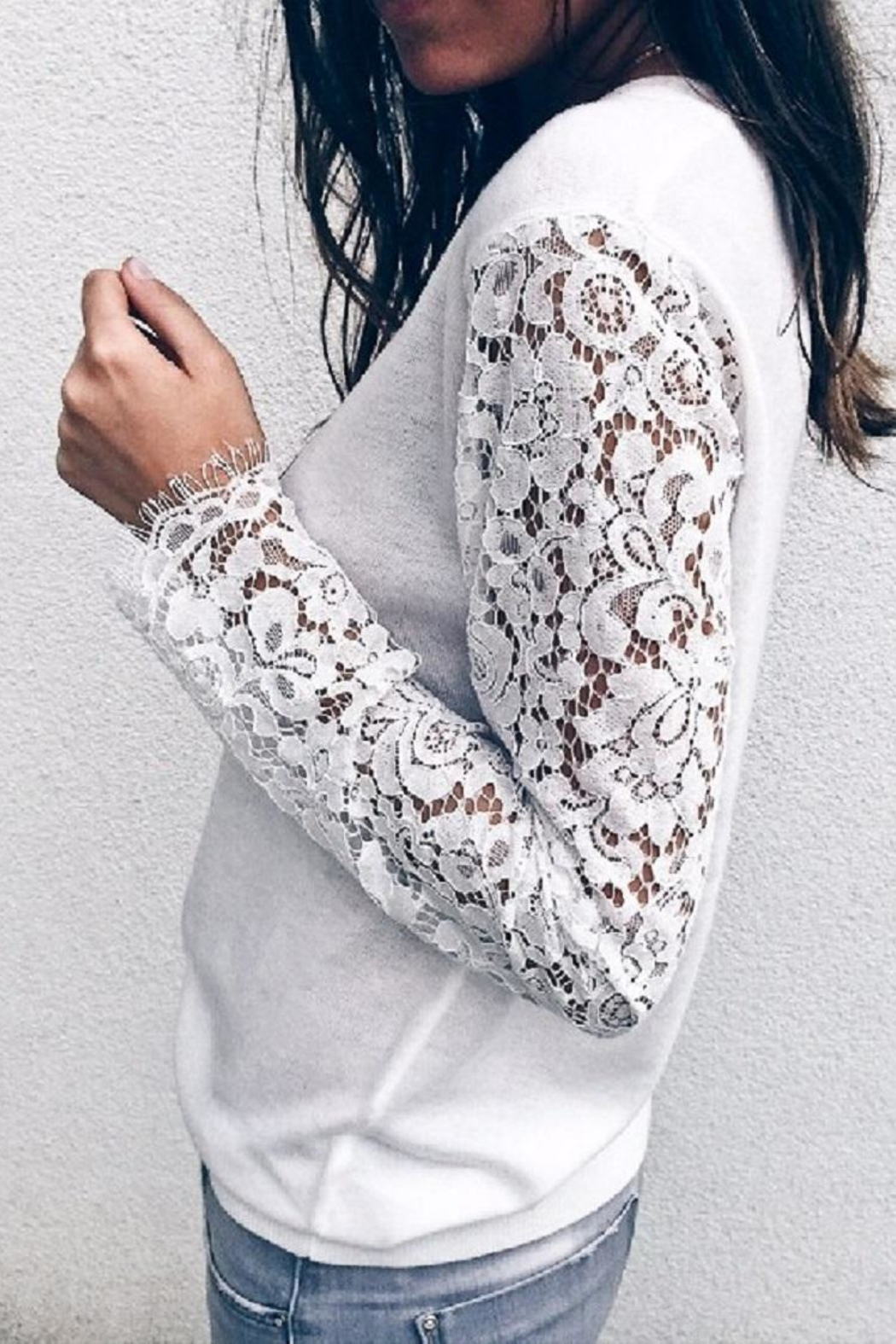 Mazik Lace Sleeve Sweater - Front Full Image