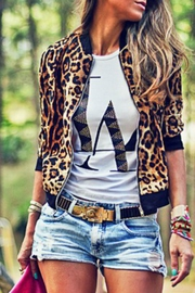 Mazik Leopard Bomber Jacket - Product Mini Image