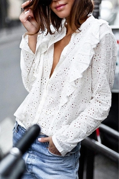 Mazik Long Sleeve White Top - Product List Image