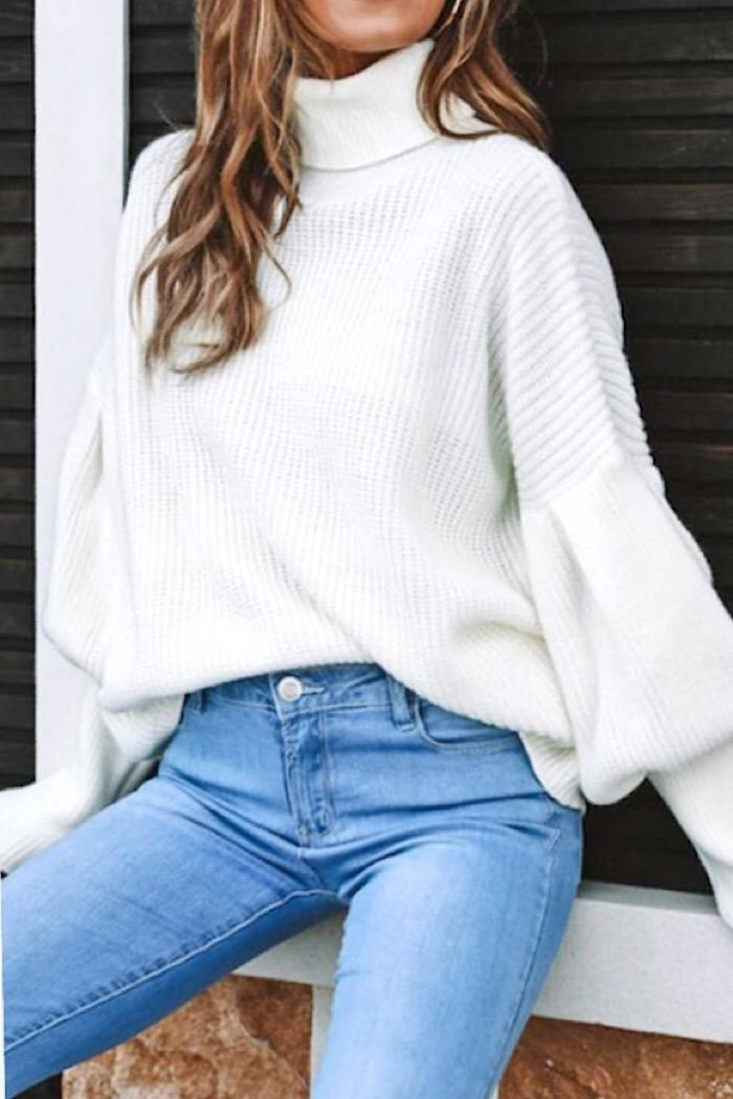 Mazik Puff Sleeve Sweater - Front Full Image