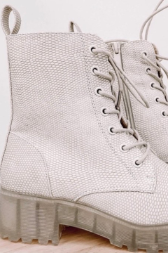 Chinese Laundry Mazzy Bootie  Clear Bottom White Combat Boot - Product List Image