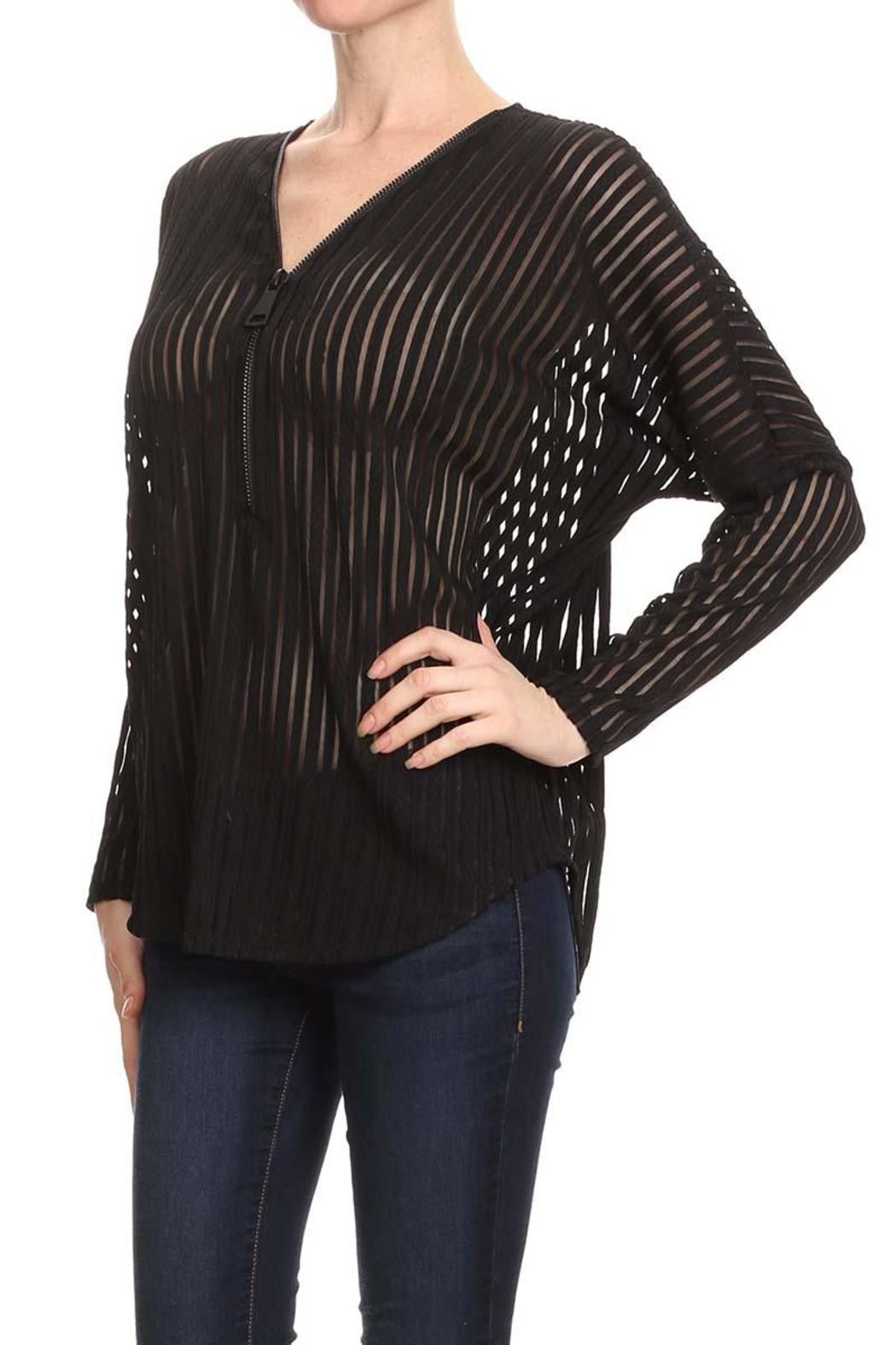 Mb Sebastian Zip Striped Blouse - Front Full Image