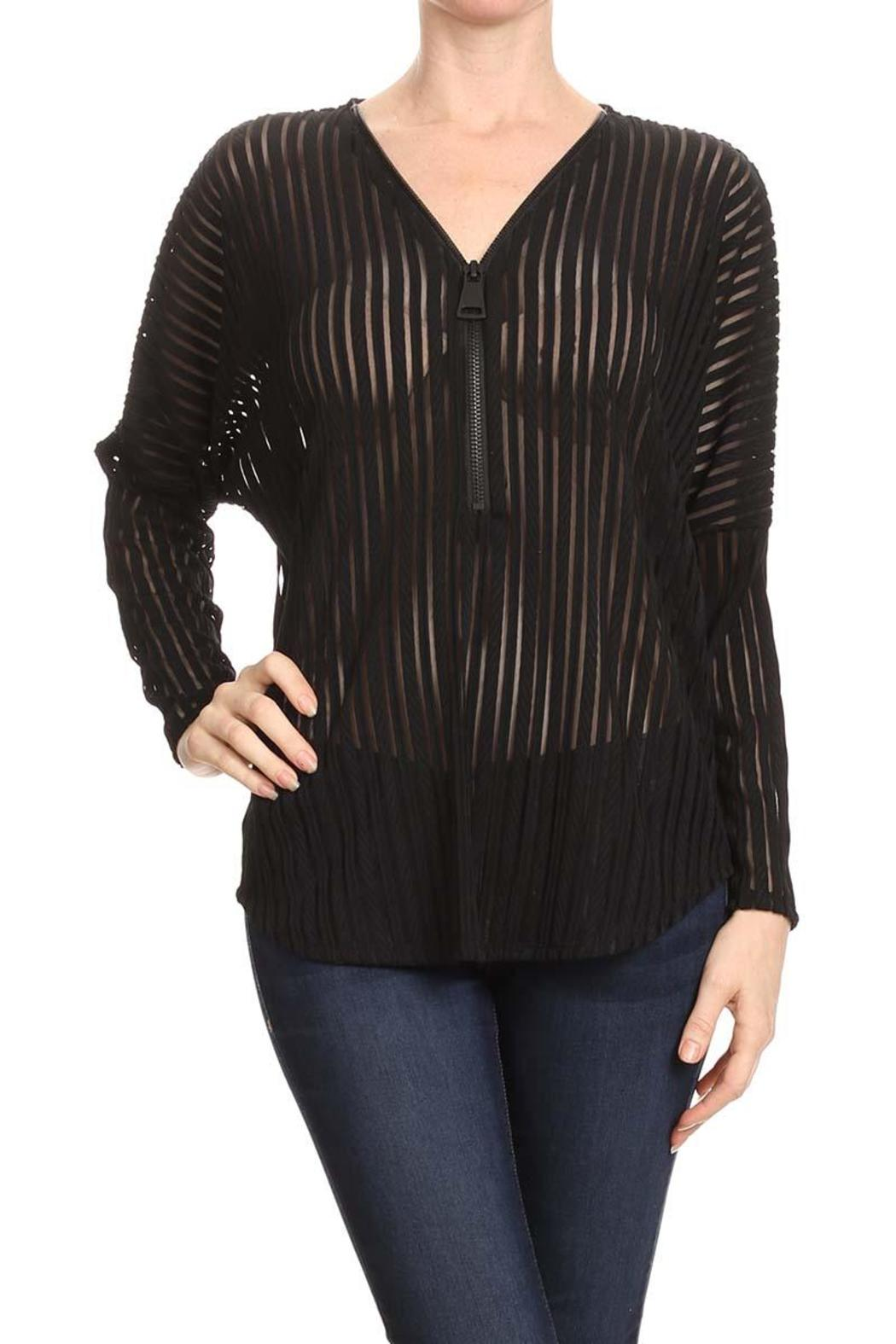 Mb Sebastian Zip Striped Blouse - Main Image