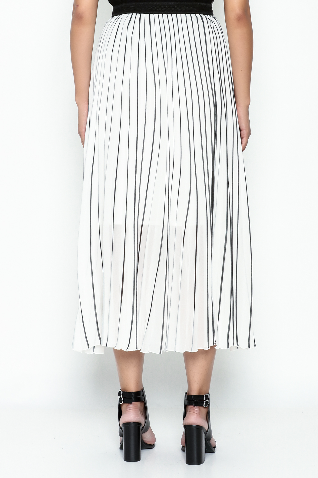 MC Oasis Striped White Skirt - Back Cropped Image