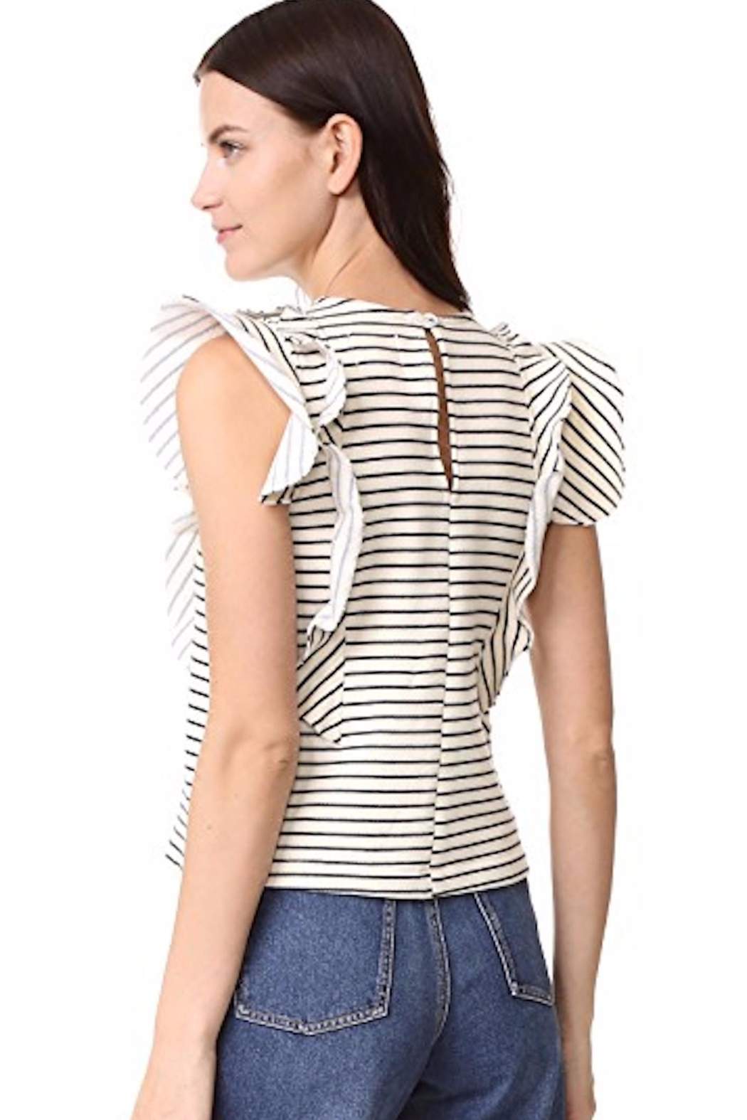 McGuire Ruffle Striped Top - Front Full Image