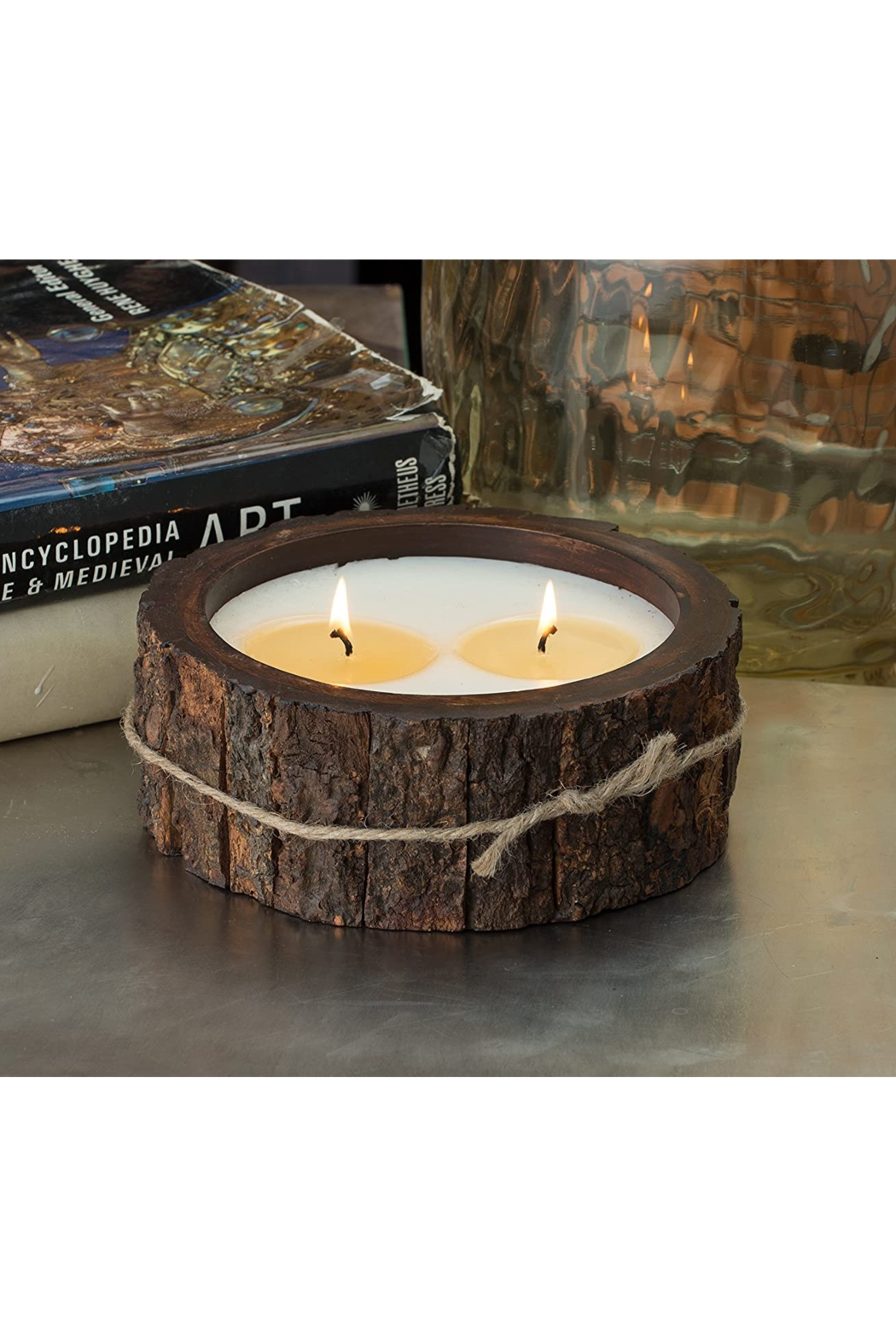 Himalayan Trading Co.  MD Tree Bark Candle- GRAPEFRUIT PINE - Front Full Image