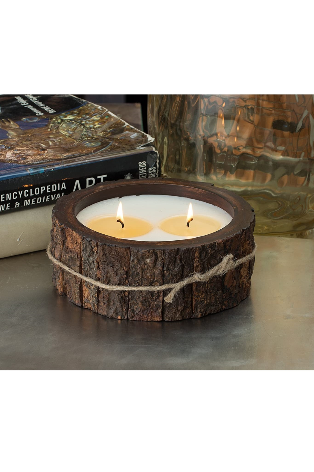 Himalayan Trading Post MD Tree Bark Candle- MOUNTAIN FOREST - Front Full Image