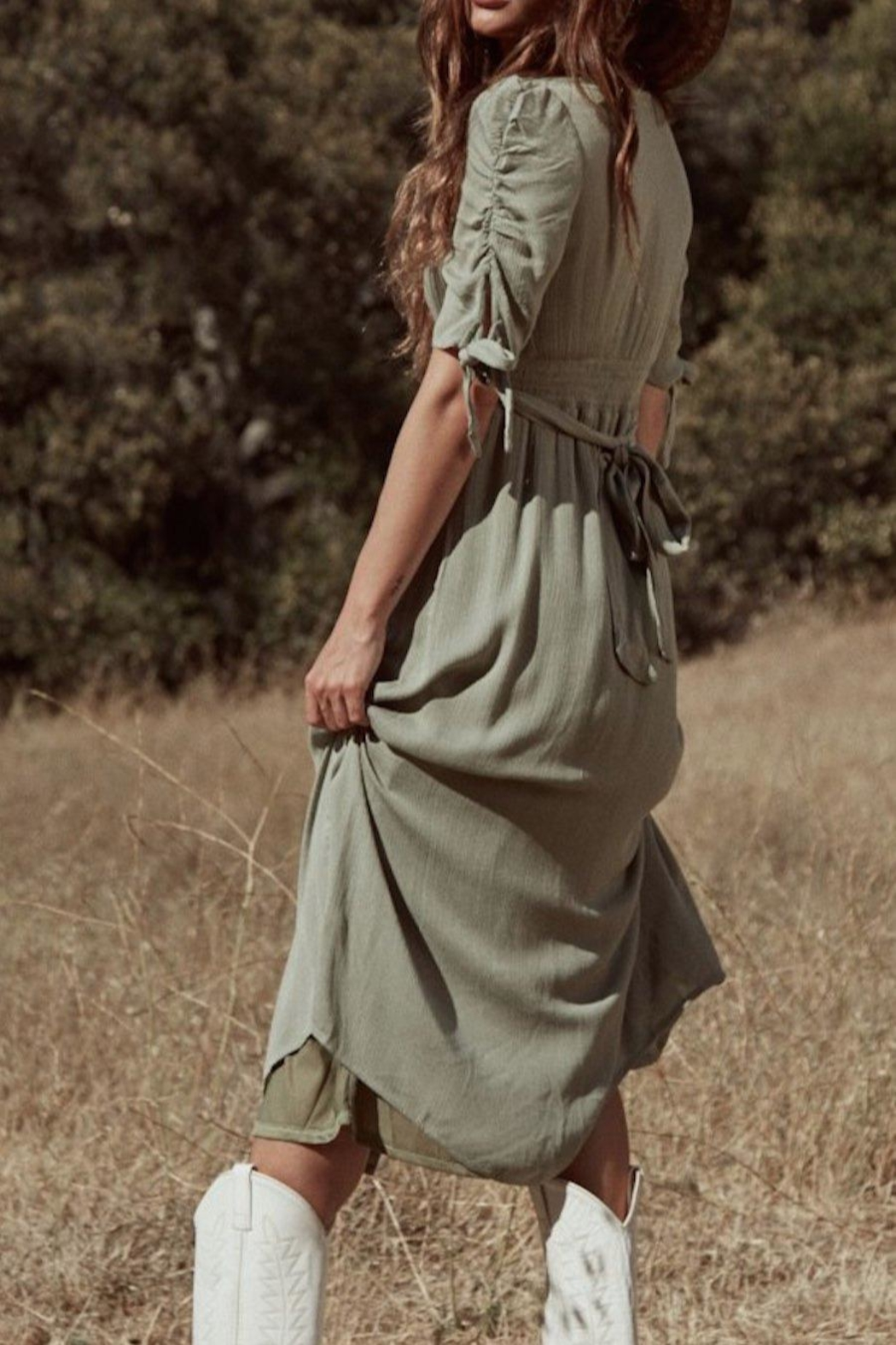 SAGE THE LABEL Meadow Midi Dress - Back Cropped Image