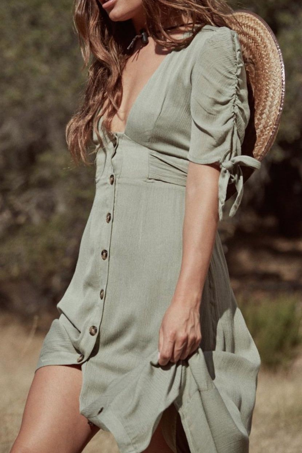 SAGE THE LABEL Meadow Midi Dress - Front Full Image