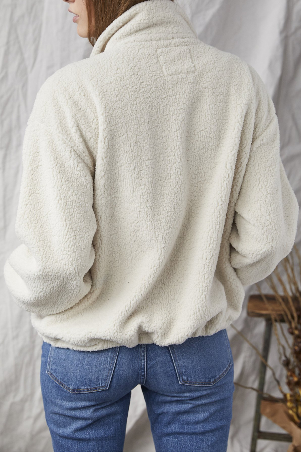 Grey State Meadow Sherpa Contrast Placket Jacket - Front Full Image