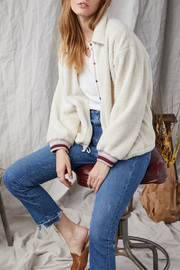 Grey State Meadow Sherpa Contrast Placket Jacket - Front cropped
