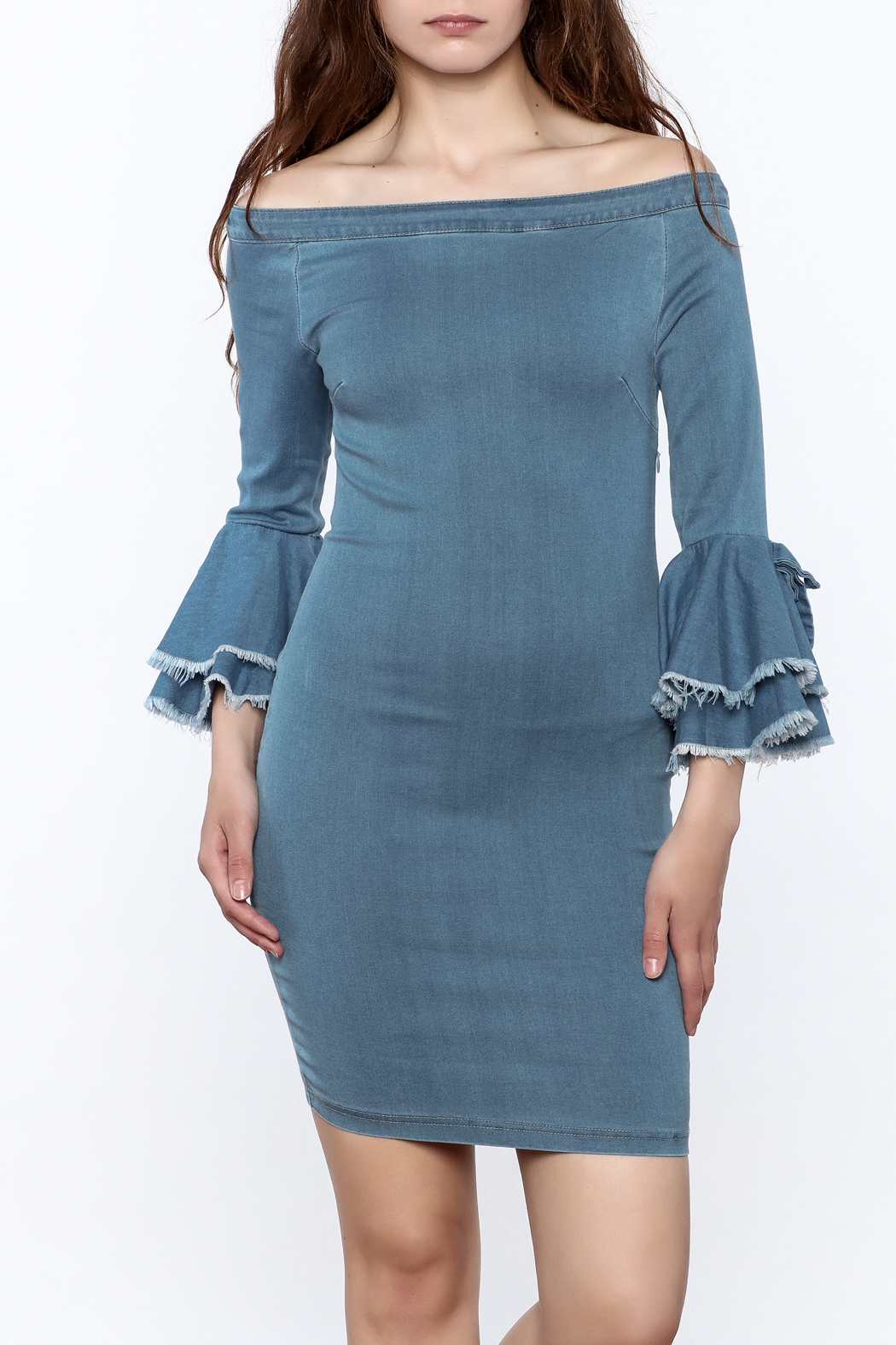 MEBON Denim Bodycon Dress - Front Cropped Image