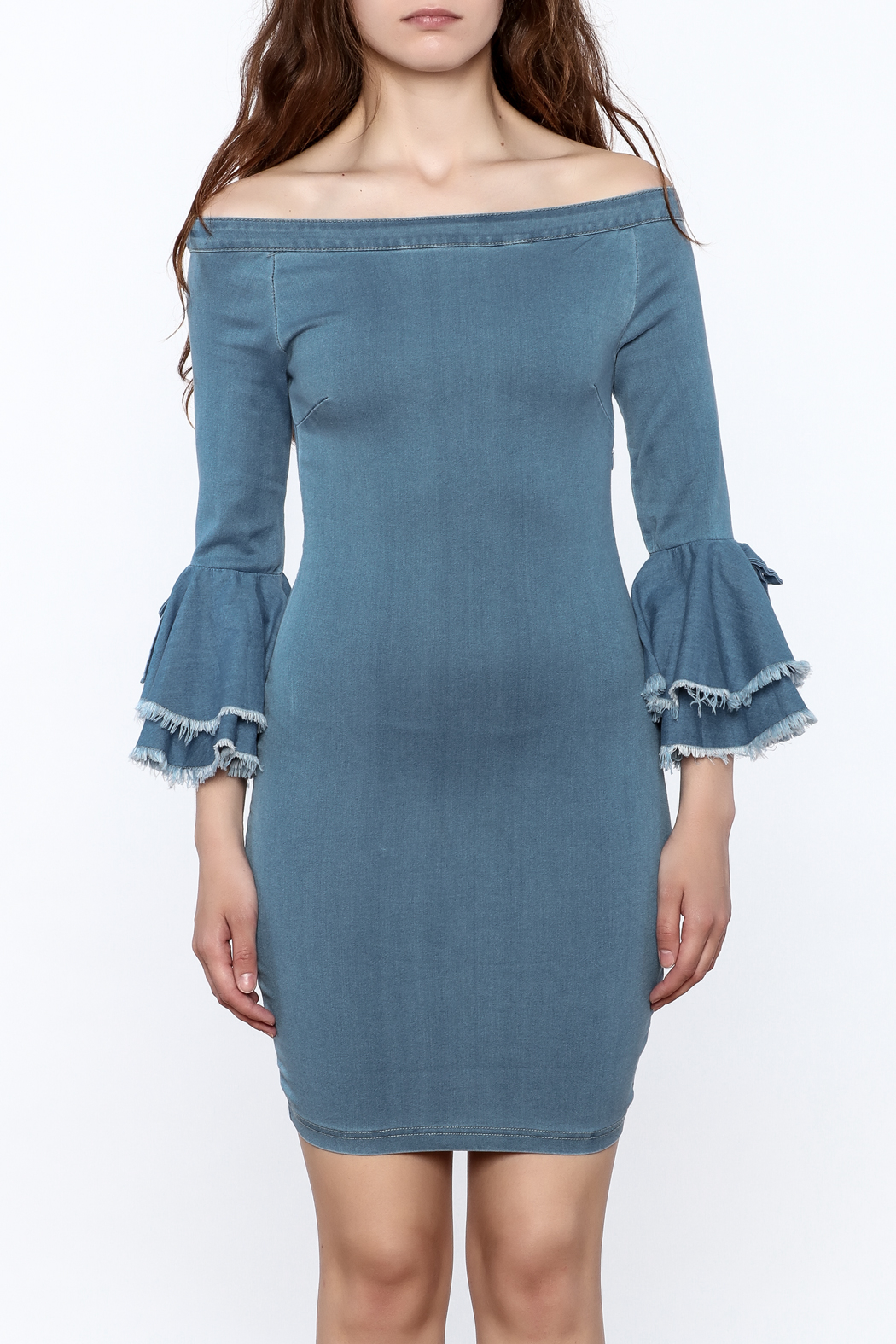MEBON Denim Bodycon Dress - Side Cropped Image