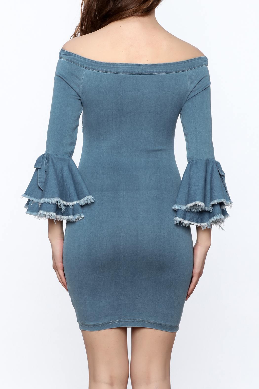 MEBON Denim Bodycon Dress - Back Cropped Image