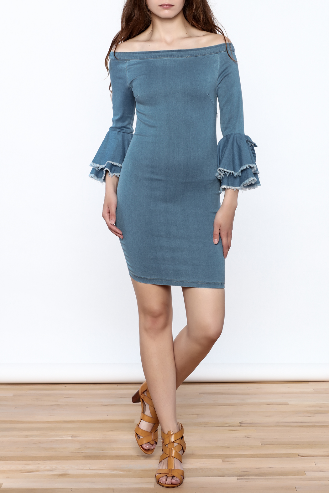 MEBON Denim Bodycon Dress - Front Full Image