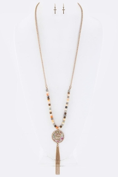 Shoptiques Product: Medallion Tassel Necklace-Set
