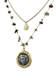 Fabulina Designs Medusa Tourmaline Layered Necklace - Front cropped