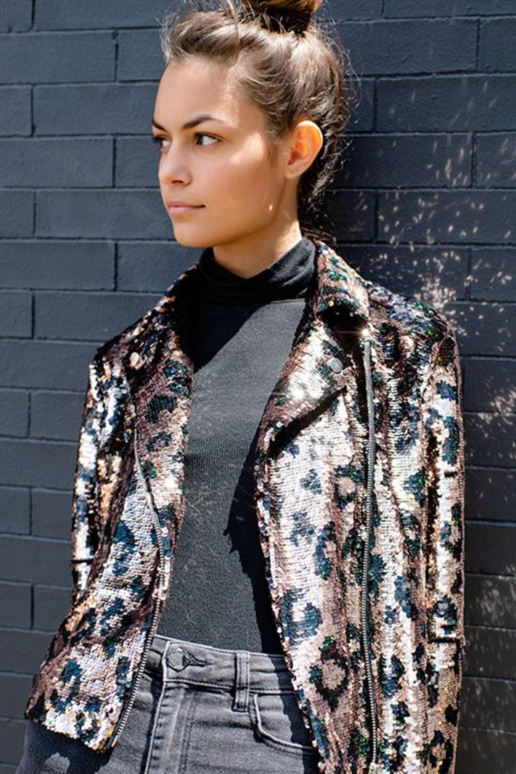 Fabulous Furs Megastar Sequin Moto Jacket - Side Cropped Image