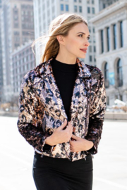 Fabulous Furs Megastar Sequin Moto Jacket - Front full body