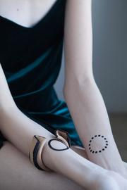 MEIRAV OHAYON Leather Cuff Bracelet - Front full body