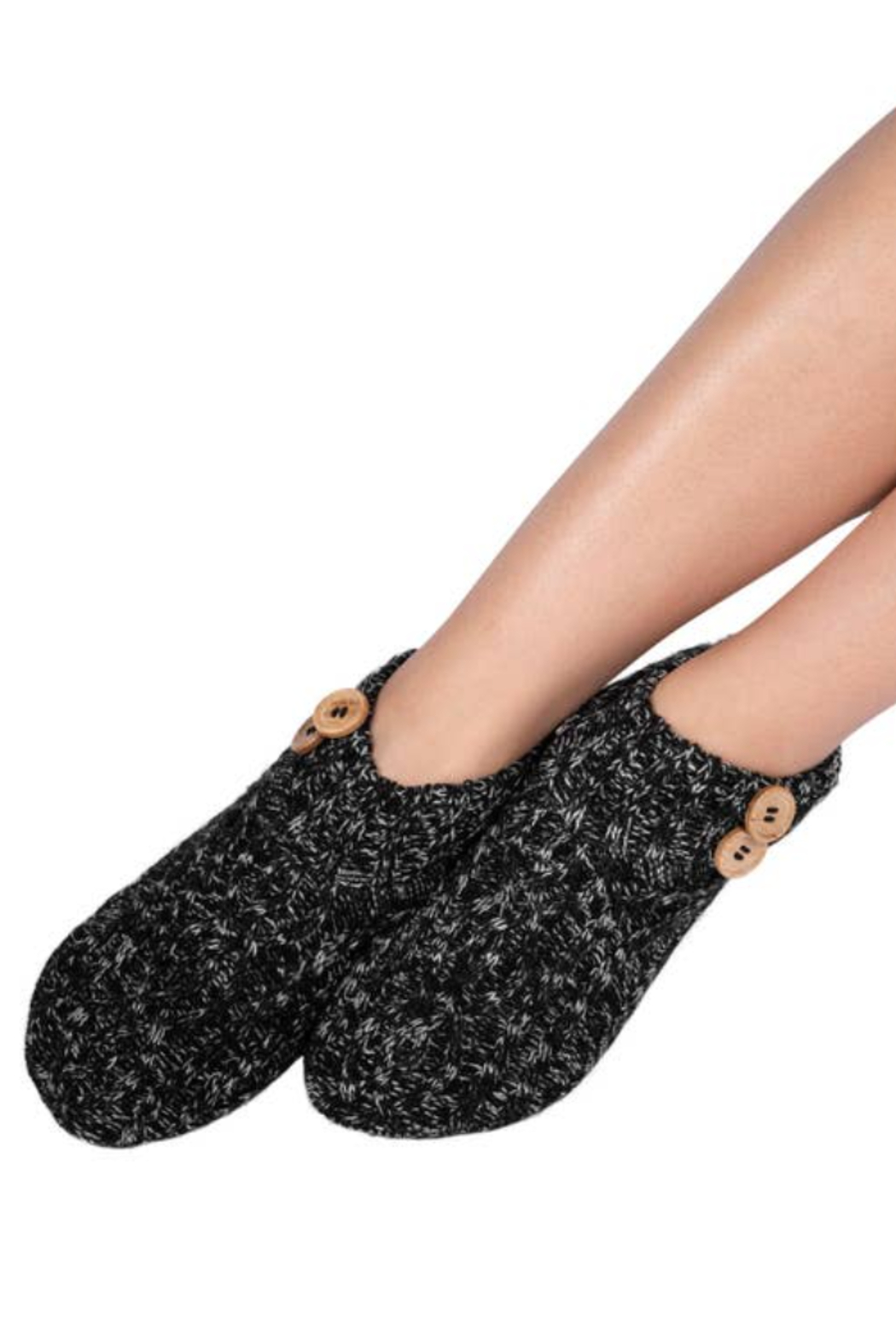 Coffee Shoppe Melange Cable/Rib Knit Booties - Side Cropped Image