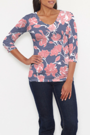 Whimsy Rose Melina Blooms Navy - V-Neck T - Product Mini Image