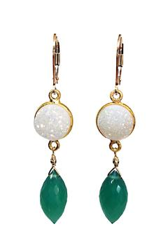Melinda Lawton Jewelry Druzy Green Onyx Earrings - Alternate List Image
