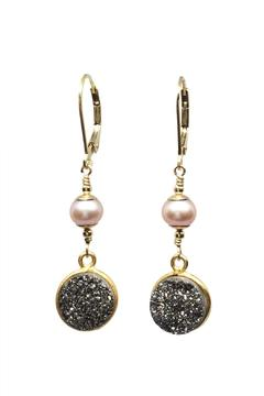 Melinda Lawton Jewelry Druzy Pearl Earrings - Alternate List Image