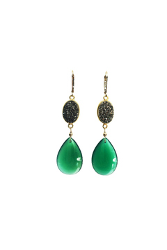 Melinda Lawton Jewelry Green Onyx Druzy Earrings - Alternate List Image
