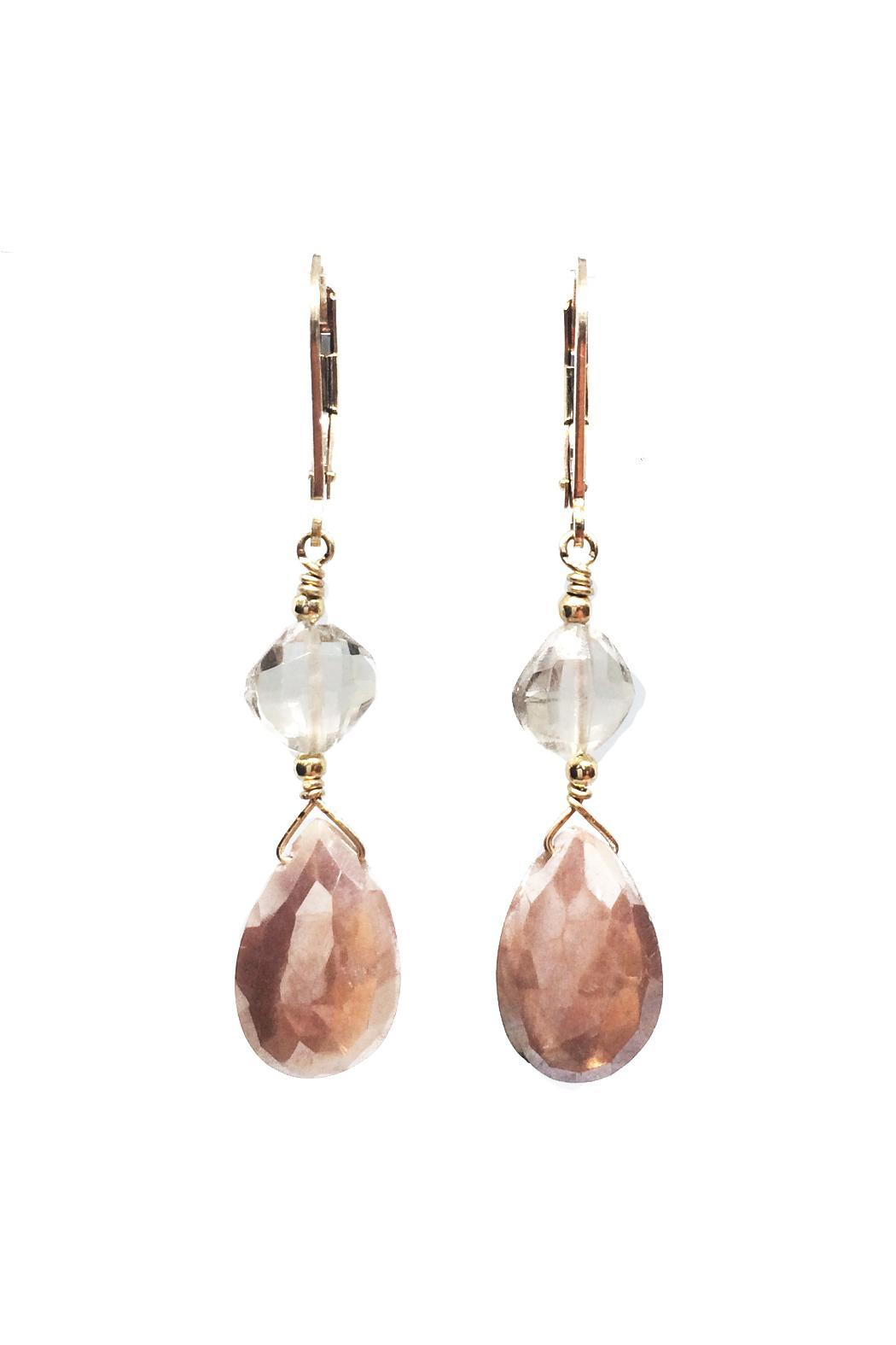 Melinda Lawton Jewelry Peach Moonstone Quartz Earrings - Front Cropped Image